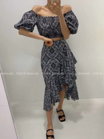 【Z922334】幾何紋雪紡長裙
