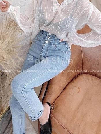【Z922457】三釦寬版牛仔褲
