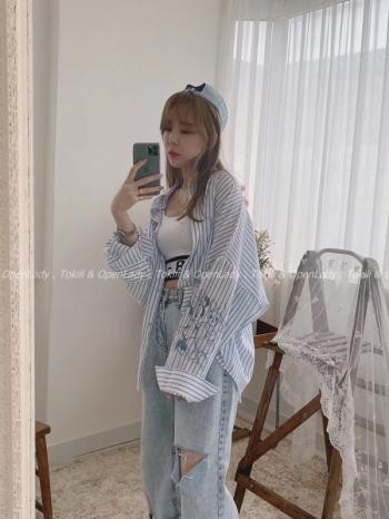 【Z922367】妮妮糖糖條紋襯衫