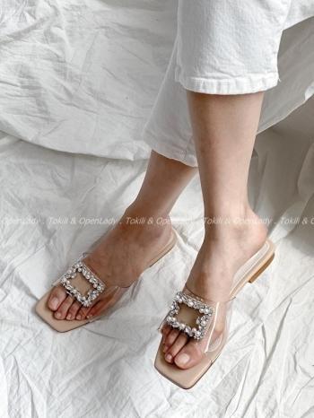 【Z922544】珠釦環透明拖鞋