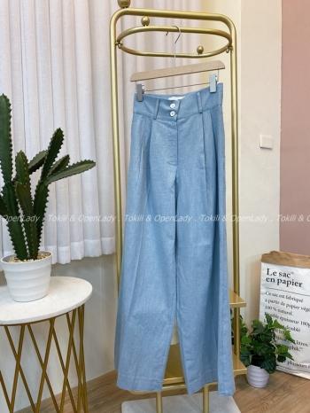 【Z922527】雙扣棉麻寬長褲