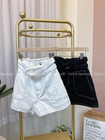 【Z922498】雙腰帶牛仔短褲