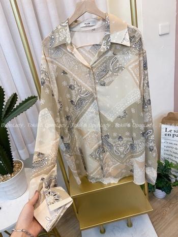 【Z922504】幾何紋雪紡襯衫