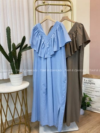 【Z922511】飄逸V領洋裝裙