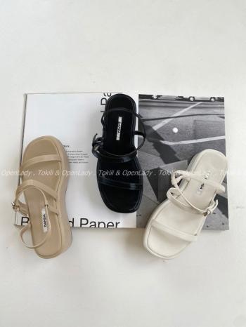 【Z922542】雙環坡跟涼鞋