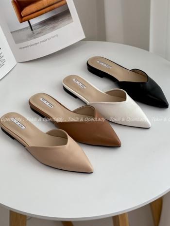 【Z922545】尖頭低跟拖鞋