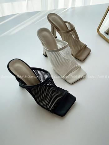 【Z922555】包背網狀拖跟鞋