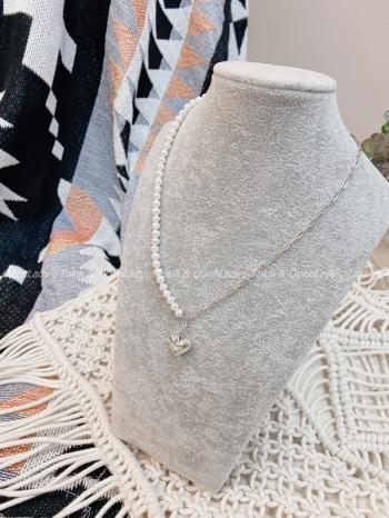 【Z922556】不對稱珍珠愛心項鍊 925純銀