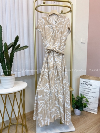 【Z922473】葉辦紋奶杏洋裝裙