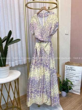 【Z922474】點紋紫撞色洋裝裙
