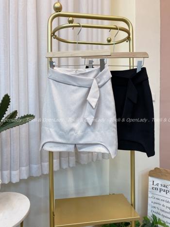 【Z922522】淡粉綁腰感短裙 套裝/下身