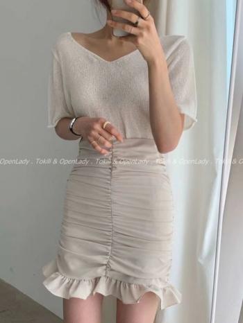 【Z922520】抓皺魚尾短裙
