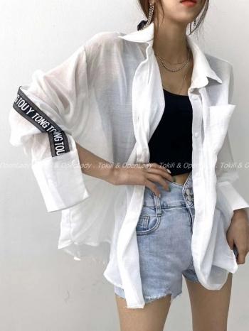 【Z922534】織帶薄棉麻襯衫
