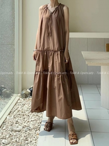 【Z922536】無袖長洋裝裙