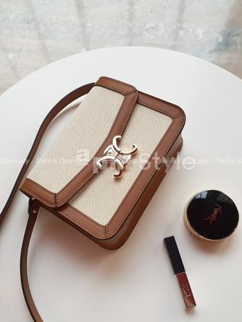 【Z922593】帆布皮革雙月釦方包