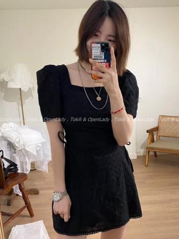 【Z922627】方領綁腰連身短裙