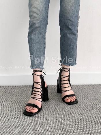 【Z922639】一字綁帶高跟涼鞋