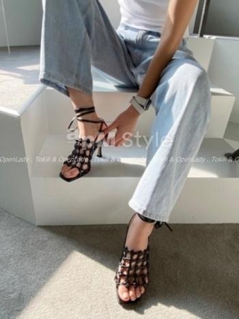 【Z922640】編織縷空高跟涼鞋