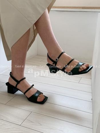 【Z922641】一字細綁高跟涼鞋