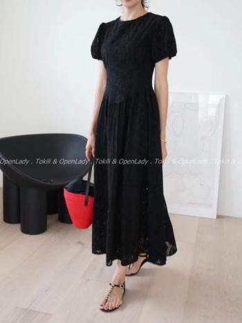 【Z922608】雕花紋長洋裝