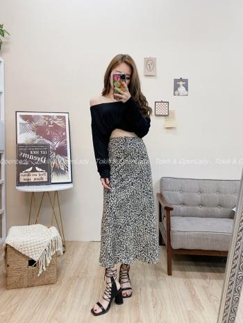 【Z821681】豹紋造型長裙
