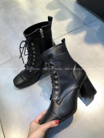 【Z922654】繫帶粗跟中皮靴