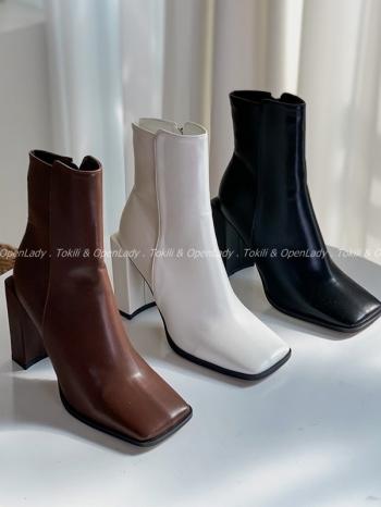 【Z922655】方頭中筒皮靴