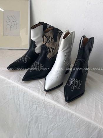 【Z922656】紋路拼接中騎士靴