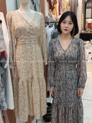 【Z922658】顯瘦秋感花紋洋裝