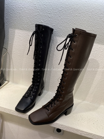 【Z922735】霧感皮面綁帶長靴 (限定宅配寄送)