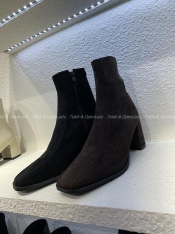 【Z922736】麂皮半圓跟靴