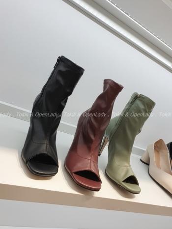 【Z922653】露趾高跟魚口靴