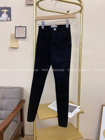 【Z821793】破洞窄管牛仔褲