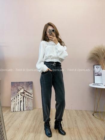 【Z821806】雙腰帶高腰牛仔褲