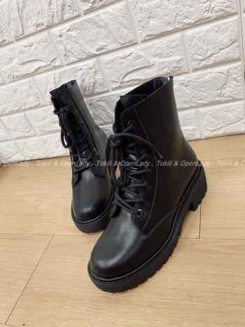 【Z821817】中筒真皮綁帶馬丁靴
