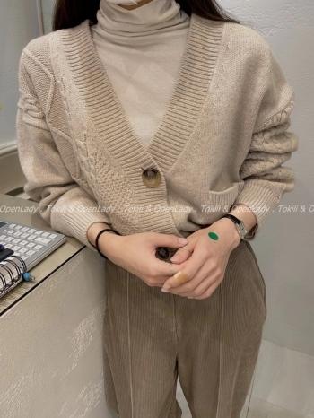 【Z922759】麻花奶茶V領罩衫
