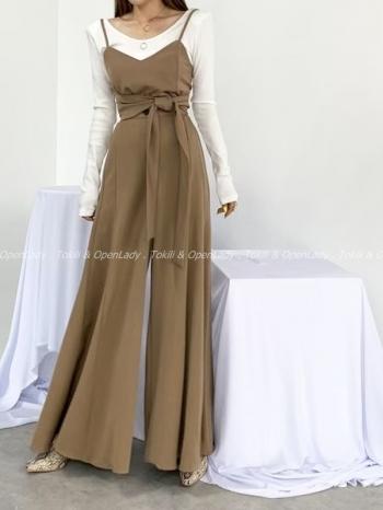 【Z922766】後彈裙襬感西裝寬褲