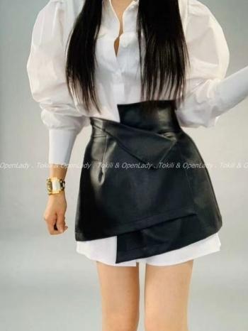 【Z922768】綁腰式皮裙