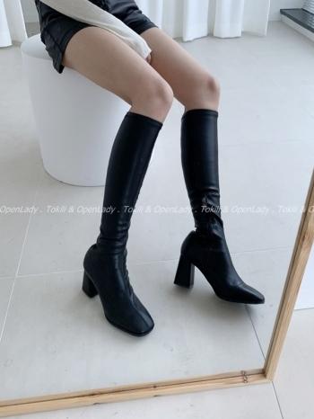 【Z922808】錐方跟軟皮高筒靴 (限定宅配寄送)