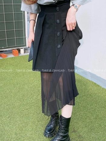 【Z922815】高腰拼接雪紡長裙
