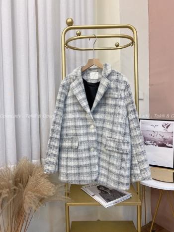 【Z821824】格紋織紋西裝外套