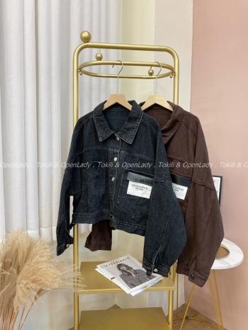 【Z821830】貼布寬袖牛仔夾克