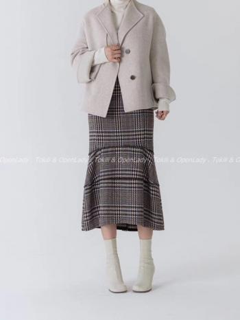 【Z922861】格紋修身魚尾裙