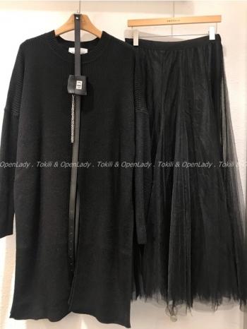 【Z922884】長版針織+紗裙兩件式套裝