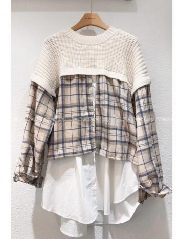 【Z922887】針織拼接格紋長襯衣
