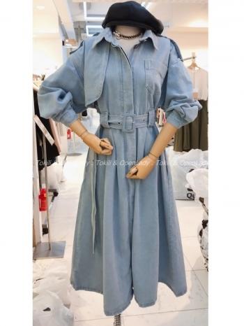 【Z922888】高磅丹寧腰帶洋裝