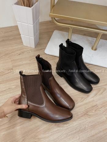 【Z821847】針織拼接皮革低跟靴
