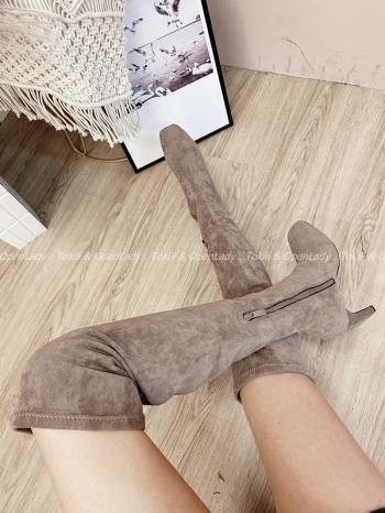 【Z821851】拿鐵色麂皮過膝靴