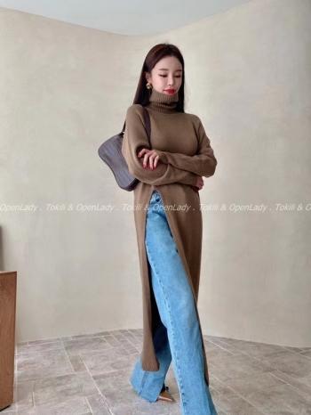 【Z922945】長版開衩針織毛衣