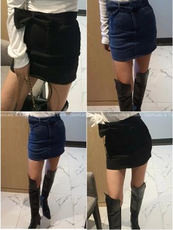 【Z922992】小蓋帶牛仔短裙